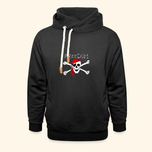 Freiheit Pirat Totenkopf - Schalkragen Hoodie