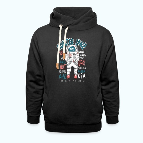 Little Monster In Space 80s Retro - Shawl Collar Hoodie