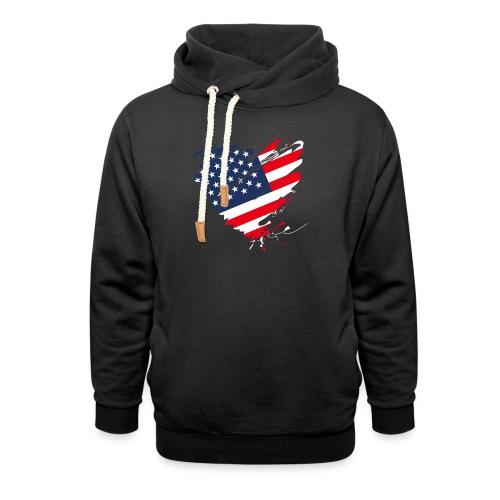 USA Amerika Sterne und Streifen Herz Fahne Flagge - Schalkragen Hoodie