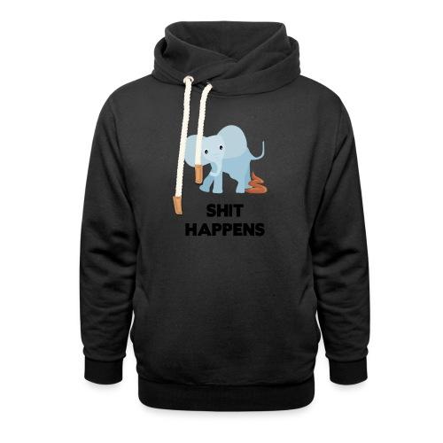 olifant met drol shit happens poep schaamte - Sjaalkraag hoodie