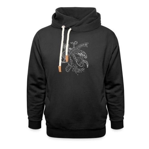 Fantasy hvid scribblesirii - Unisex hoodie med sjalskrave