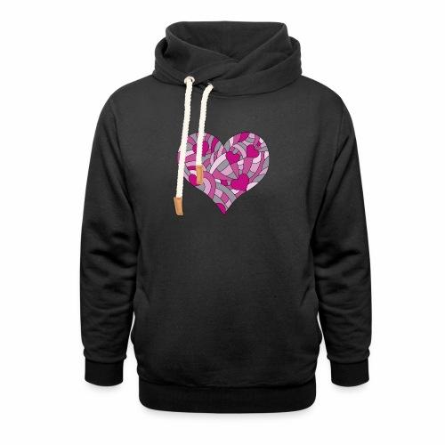 Herzen viola - Schalkragen Hoodie