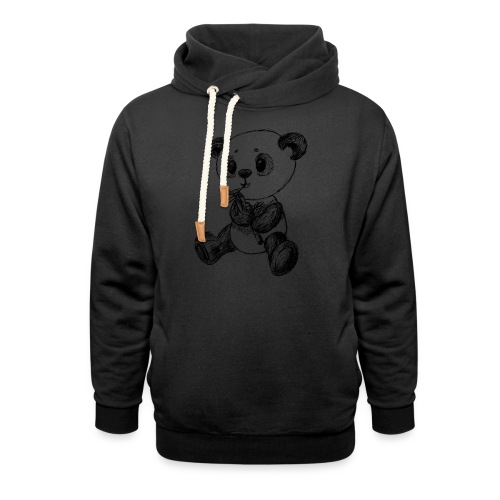 Panda Bär schwarz scribblesirii - Schalkragen Hoodie