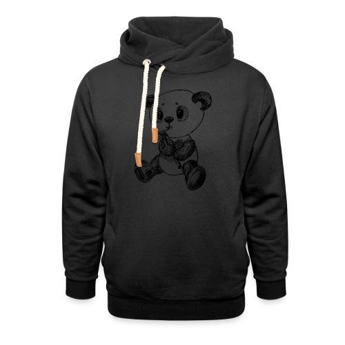 Panda bjørn sort scribblesirii - Hoodie med sjalskrave