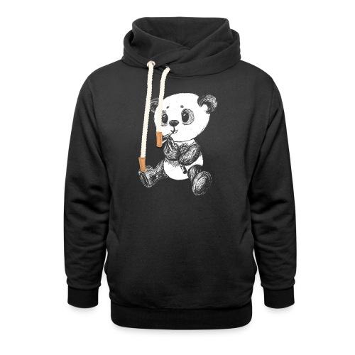 Panda bjørn hvid scribblesirii - Hoodie med sjalskrave