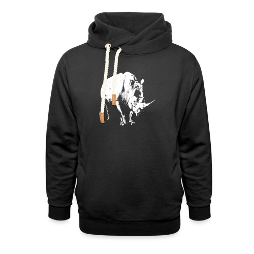White Rhinoceros (highlights only) - Shawl Collar Hoodie