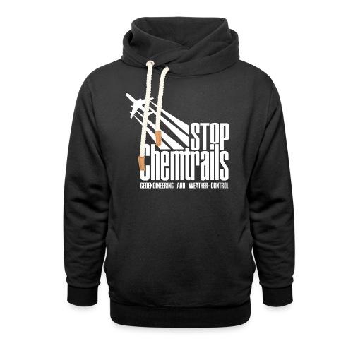 STOP CHEMTRAILS - white print - Unisex sjaalkraag hoodie