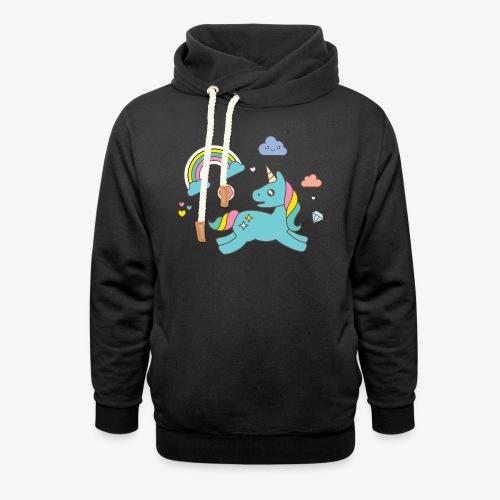 colored unicorn - Shawl Collar Hoodie
