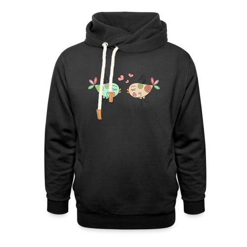 colourful birds in love - Shawl Collar Hoodie