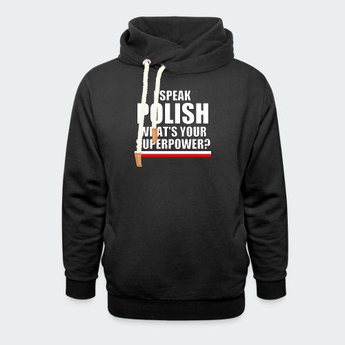 Męska Koszulka Premium I SPEAK POLISH - Bluza z szalowym kołnierzem