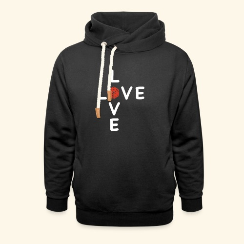 LOVE Cross white wuerfel red 001 - Schalkragen Hoodie