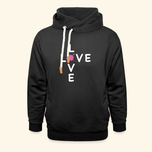 LOVE Cross white klecks pink 001 - Schalkragen Hoodie