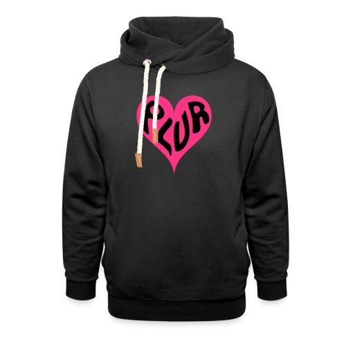 PLUR - Peace Love Unity and Respect love heart - Shawl Collar Hoodie
