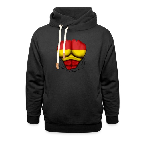 España Flag Ripped Muscles six pack chest t-shirt - Shawl Collar Hoodie