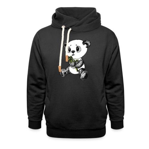 Panda bjørn farvet scribblesirii - Hoodie med sjalskrave