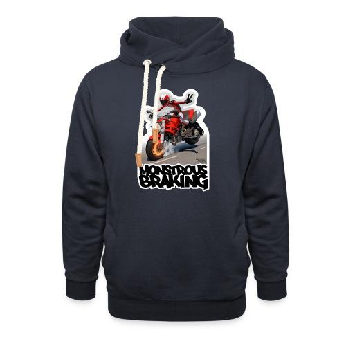 Ducati Monster, a motorcycle stoppie. - Sudadera con capucha y cuello alto