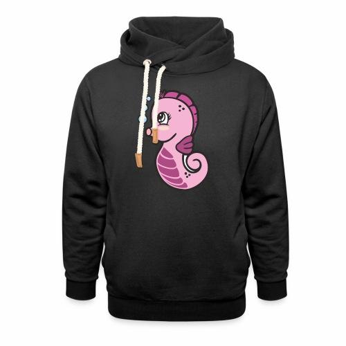 Seepferdchen Mädchen - Schalkragen Hoodie