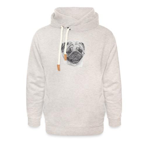 Pug mops 2 - Unisex hoodie med sjalskrave
