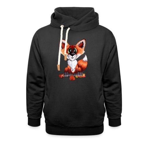 llwynogyn - a little red fox - Unisex hoodie med sjalskrave