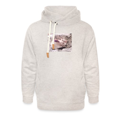 CAT SURROUNDED BY MICE AND BUTTERFLIES. - Unisex Shawl Collar Hoodie