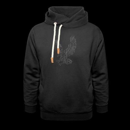 Circuit eagle White - Unisex hoodie med sjalskrave
