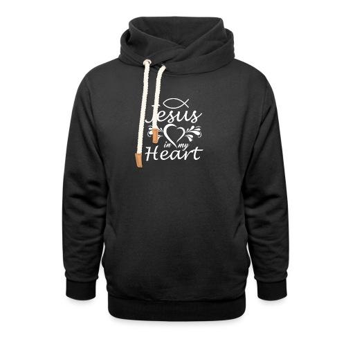 Jesus ist Liebe und in meinem Herz - Unisex Schalkragen Hoodie