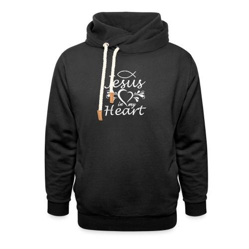 Jesus ist mein Herz Jesus Fisch - Unisex Schalkragen Hoodie