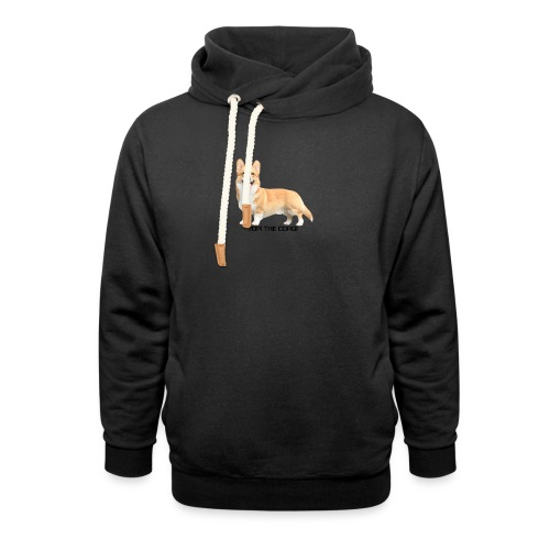 Topi the Corgi - Black text - Shawl Collar Hoodie