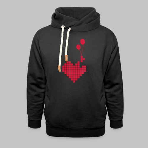 heart and balloons - Shawl Collar Hoodie