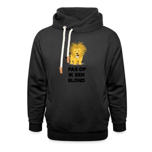 Pas op ik ben blond een cartoon van blonde leeuw - Sjaalkraag hoodie