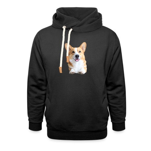 Topi the Corgi - Frontview - Shawl Collar Hoodie