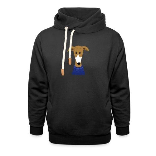 Windhund in blauem Pulli - Schalkragen Hoodie