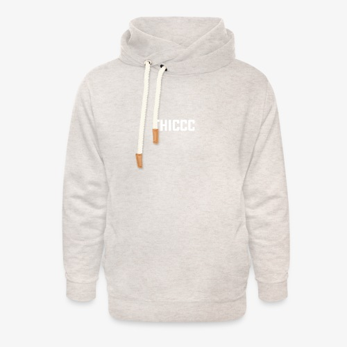 thiccc text logo WHITE - Unisex Shawl Collar Hoodie
