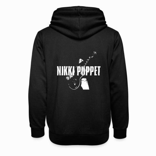 NIKKI PUPPET Gitarrist und Logo weiss - Unisex Schalkragen Hoodie