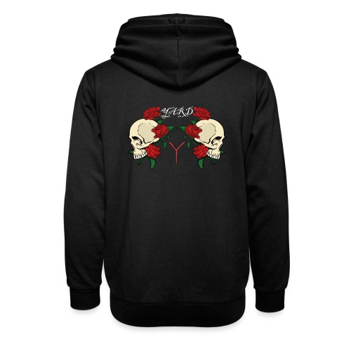 YARD skull and roses - Unisex sjaalkraag hoodie