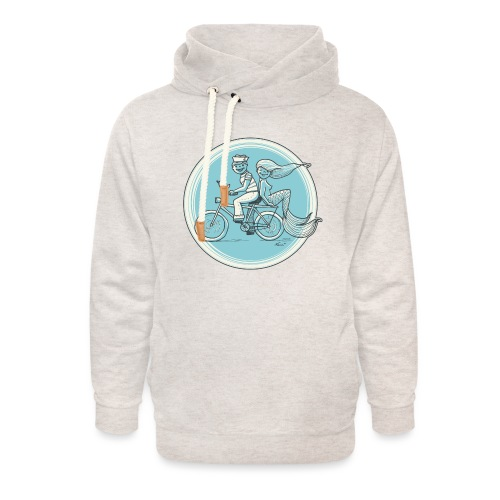 To the Beach - Backround - Unisex Schalkragen Hoodie