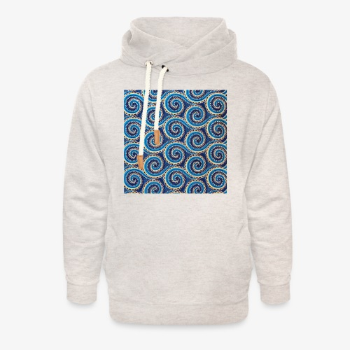 Spirales au motif bleu - Sweat à capuche cache-cou unisexe