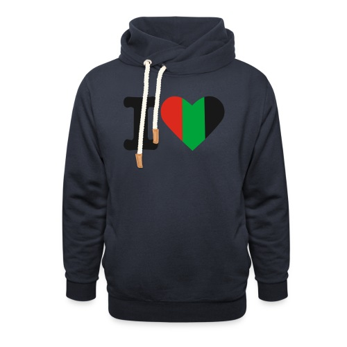 hartjeroodzwartgroen - Unisex sjaalkraag hoodie