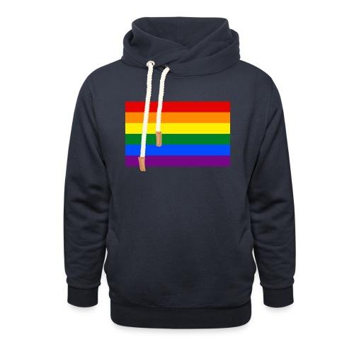 PRIDE BAGDE SMALL - Unisex hoodie med sjalskrave