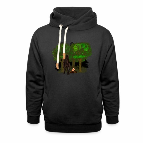 Bigfoot Campfire Forest - Unisex Shawl Collar Hoodie
