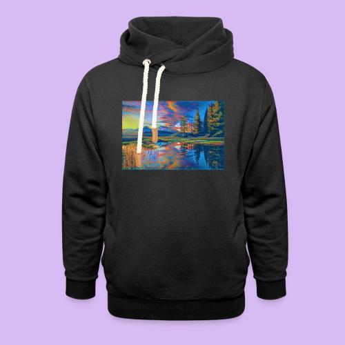 Paesaggio al tramonto con laghetto stilizzato - Felpa con colletto alto unisex