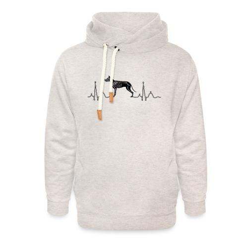 ECG met hond - Unisex sjaalkraag hoodie