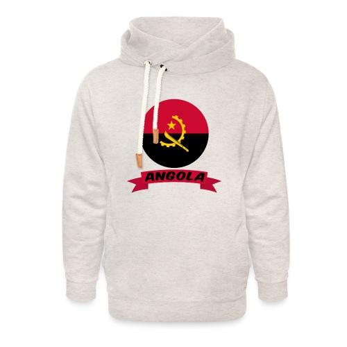 flag of Angola t shirt design ribbon banner - Felpa con colletto alto unisex