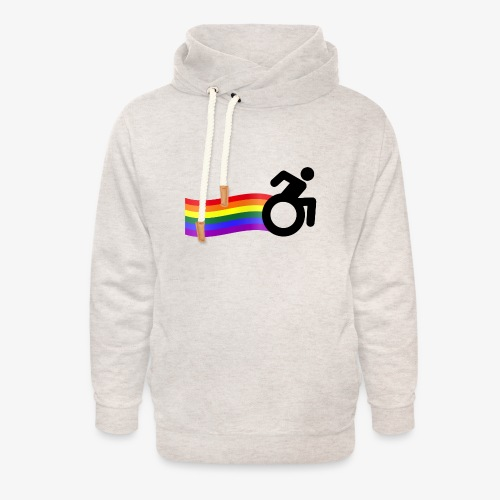 > Trotse rolstoel gebruiker met regenboog, lgbt - Unisex sjaalkraag hoodie
