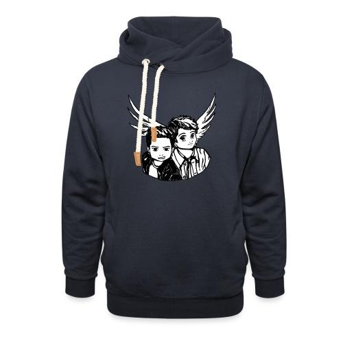 Destiel i sort/hvid - Unisex hoodie med sjalskrave