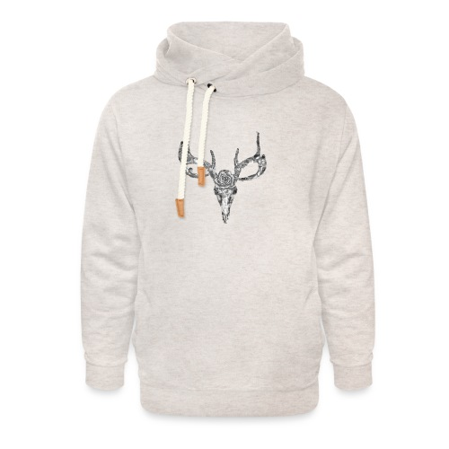 Deer skull with rose - Unisex huivikaulus huppari