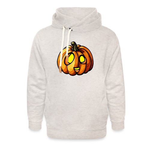 Pumpkin Halloween watercolor scribblesirii - Unisex Shawl Collar Hoodie