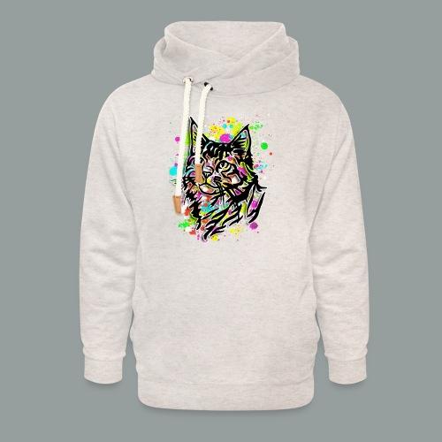 Bunte Katze - Unisex Schalkragen Hoodie