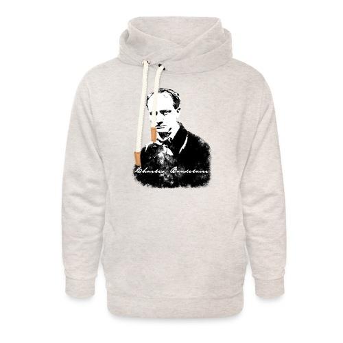 Baudelaire (fond blanc) + signature - Sweat à capuche cache-cou unisexe