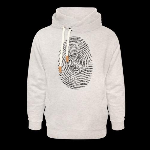 Tintenfisch Fingerabdruck schwarz - Unisex Schalkragen Hoodie